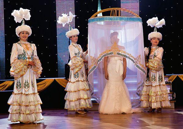 Kazakh dancers at a wedding ceremony.