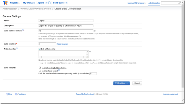 Create a Build Configuration for the deployment step