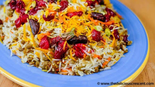 Lentil Cranberry Saffron Rice - The Delicious Crescent