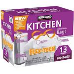 Kirkland Signature Flex-Tech Kitchen Bags, 13 Gallon - 200 count