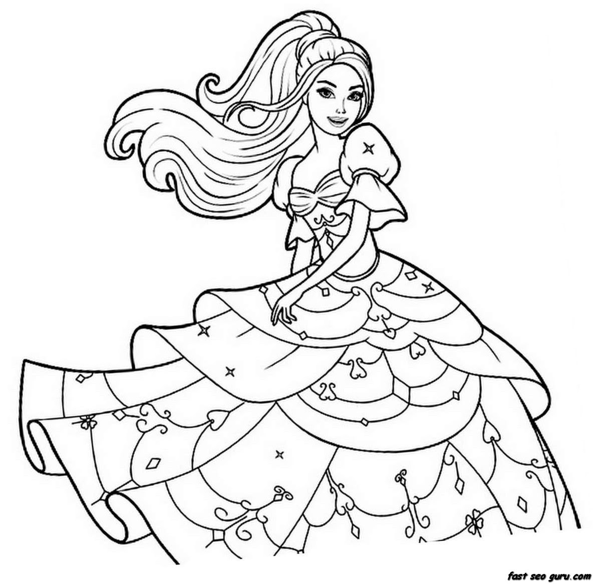 Print out Barbie beautiful dress coloring pages