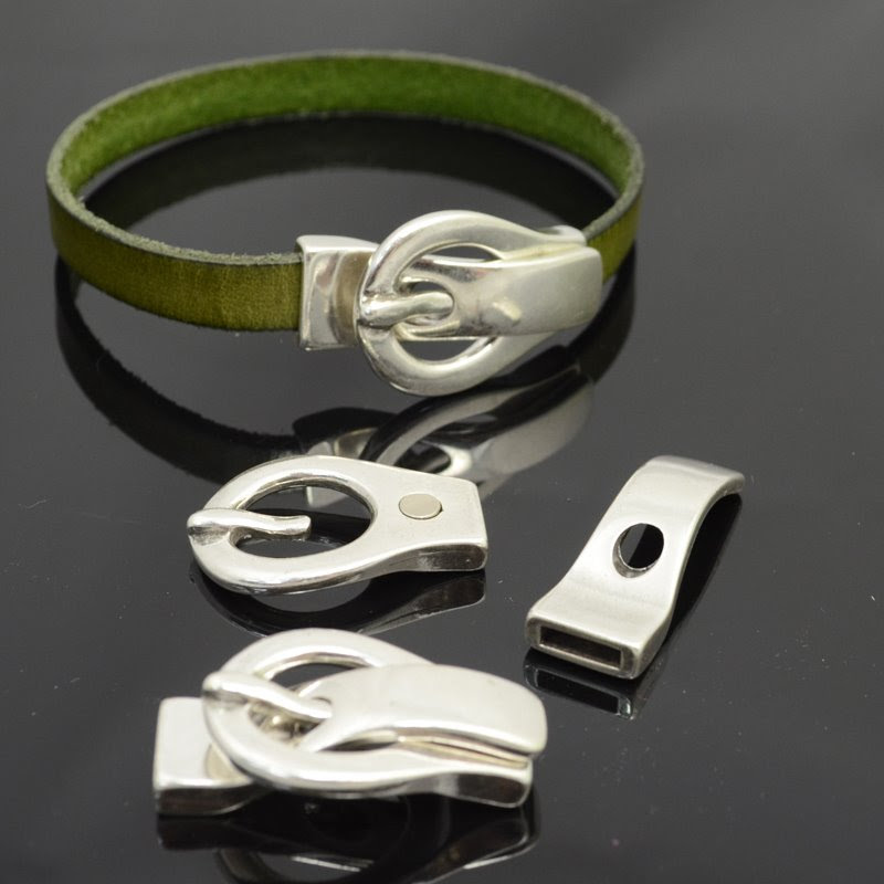 s40103 Findings - 10 mm Flat Leather -  Faux Buckle Clasp (Magnetic) - Antiqued Silver (1 set)