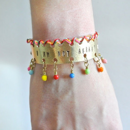 I Am Not Afraid of Storms Colorful Brass Cuff by LoveHeyLola