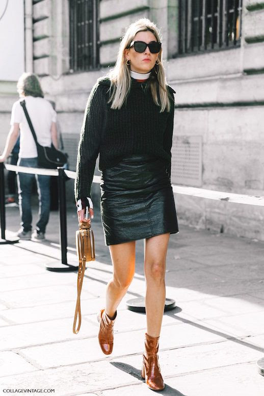 Le Fashion Blog Black Sweater Layered Black Leather Skirt Camel Patent Leather Boots Via Collage Vintage