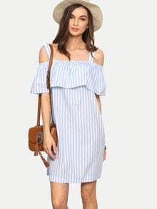 Multicolor Striped Cold Shoulder Ruffle Shift Dress