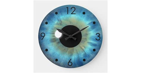 Blue Eye Iris Eyeball Custom Large Round Clock   Zazzle.com