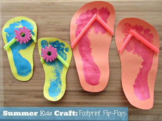 Summer Kids Craft: Footprint Flip Flops - Raising Whasians