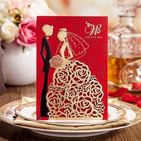 2017 New Personalized Wedding Invitations Cards Red Color