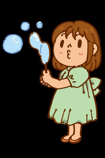シャボン玉を吹く女の子のイラスト かわいいフリー素材が無料の