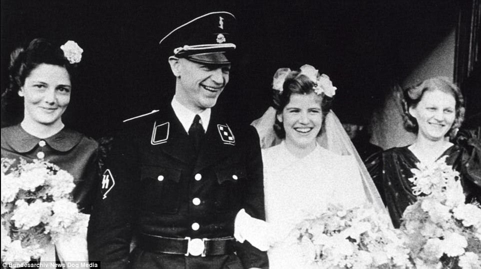 Pieter Schelte Heerema, pictured on his                           wedding day in December 1942, was a senior                           officer in the SS and was involved in sending                           unemployed Dutch men to Nazi occupied areas in                           Eastern Europe. He became a member of the                           Dutch resistance after 1943 but was jailed                           briefly at the end of the war for his role