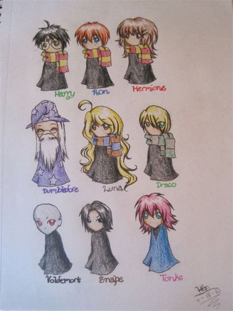 harry potter characters drawn  chibi style