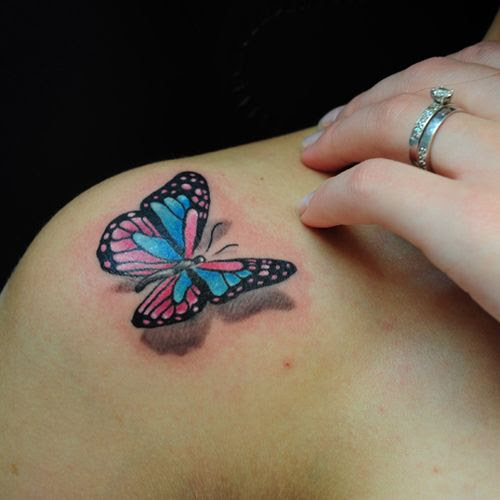 Black And Red Butterfly Tattoo On Shoulder Tattoomagz