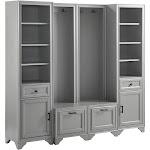 4pc Tara Entryway Set - 2 Hall Trees and 2 Linen Cabinets Distressed Gray - Crosley