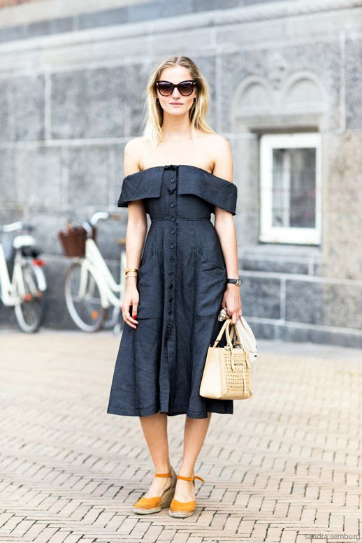 Le Fashion Blog Street Style Retro Inspired Romantic Summer Look Cat Eye Sunglasses Off The Shoulder Dress Small Nude Bag Orange Espadrille Wedge Sandals Via Sandra Semburg
