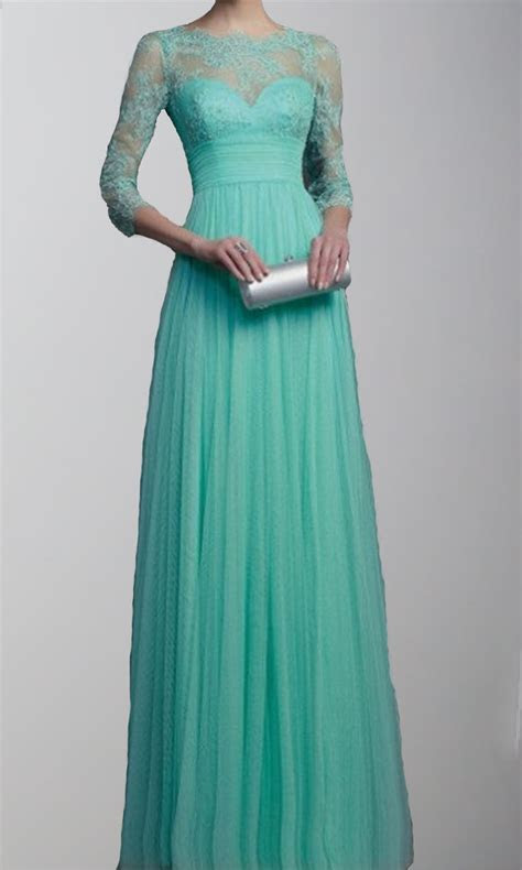 3/4 sleeves Lace Applique 2015 Long Prom Dresses KSP269