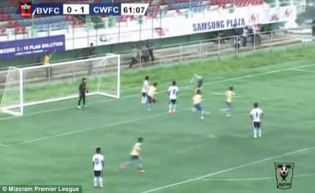 The 23-year-old attempted a somersault celebration in the Indian Mizoram Premier League match