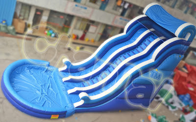 Blue Waves Inflatable Water Slide With Pool - Channal Inflatables