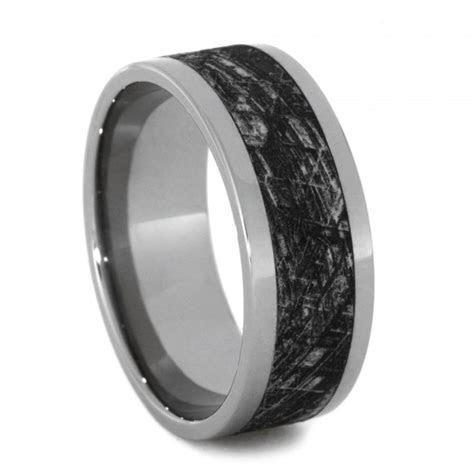 Mimetic Meteorite Wedding Band, Engraved Titanium Ring