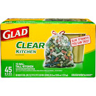 Glad 13 gal Tall Kitchen Drawstring Trash Bags, Clear - 45 count