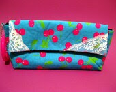 """SALE Bright Cherry Print and Lace """"AA"""" Wristlet"""