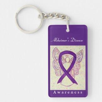 Alzheimer's Disease Awareness Ribbon Keychain