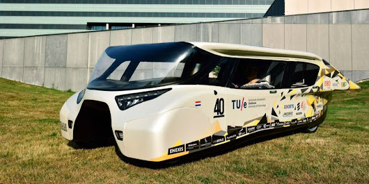 Students design a solar-powered car that can travel more than 600 miles fully charged