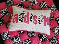 Zebra Applique Name Pillow
