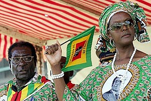 Zimbabwean President Robert Mugabe along with First Lady Grace. She made a powerful and defiant speech calling for the continuation of ZANU-PF rule in this southern African nation. by Pan-African News Wire File Photos