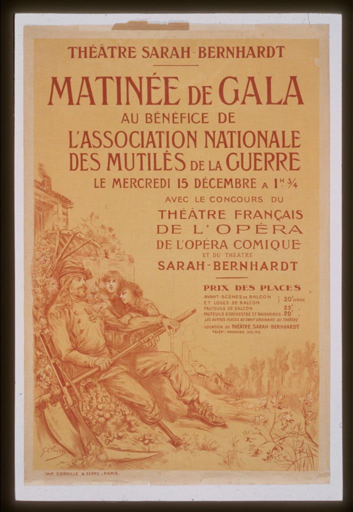 Matinee De Gala Au Benefice De L Association Nationale De Mutiles De La Guerre Theatre Sarah Bernhardt Library Of Congress