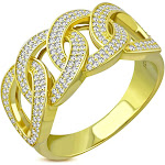 925 Sterling Silver Men's Gold-tone Micro Pave White CZ Stone Chain Link Design Band Ring