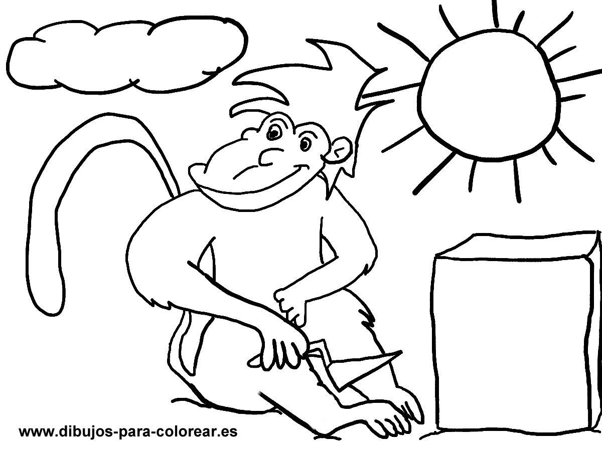 El Mono Y La Piedra Dibujos Para Colorear