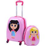 "2 Pcs 12"" 16"" Pink Kids Girls Suitcase Backpack Luggage Set"