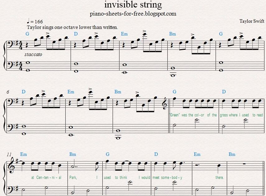 Piano Sheet Music Taylor Swift Invisible String Piano Sheets