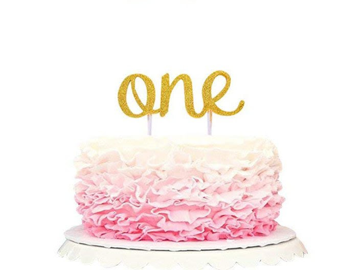 """For Baby Girl Baby First Birthday Cake Topper Decoration /& Decorations Banner of /""""I Am One/"""" Unbleached"""