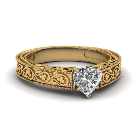 Floral Engraved Heart Diamond Solitaire Engagement Ring In