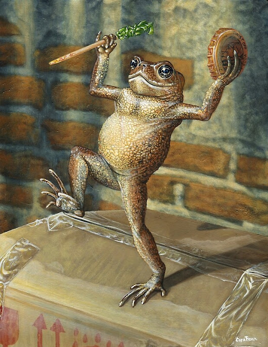 'Dancing 'Poor Man' Toad, acrylic painting'  by CaraBevan