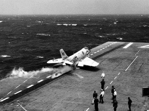 F3H DEMON BEING LAUNCHED OFF CARRIER