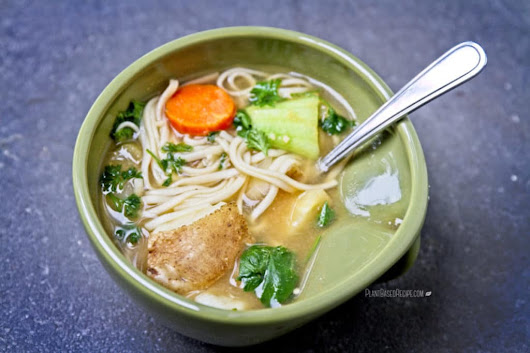 Hearty winter vegetable noodle soup (Low Fat, Oil Free, Vegan)