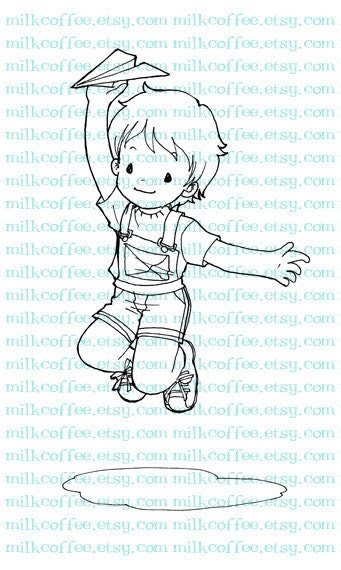 Digital Stamp a Boy Plays with His Paperairplane