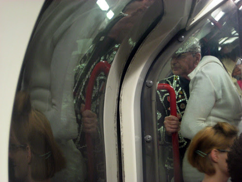 Pearly King on the Tube