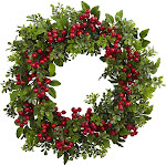 """Nearly Natural 24"""" Berry Boxwood Wreath"""
