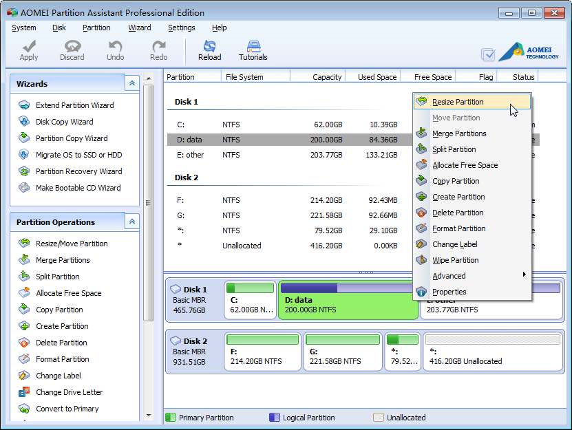 AOMEI Partition Assistant Pro Edition