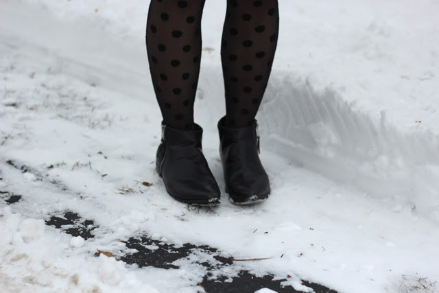 Polka Dot Tights and Ankle Boots in the Snow