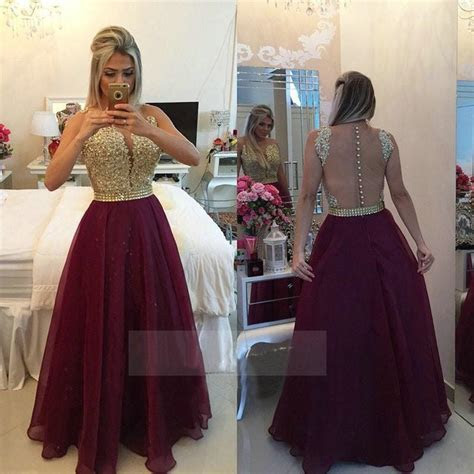 Vestidos Longo Appliques Lace Burgundy Gold Champagne Red