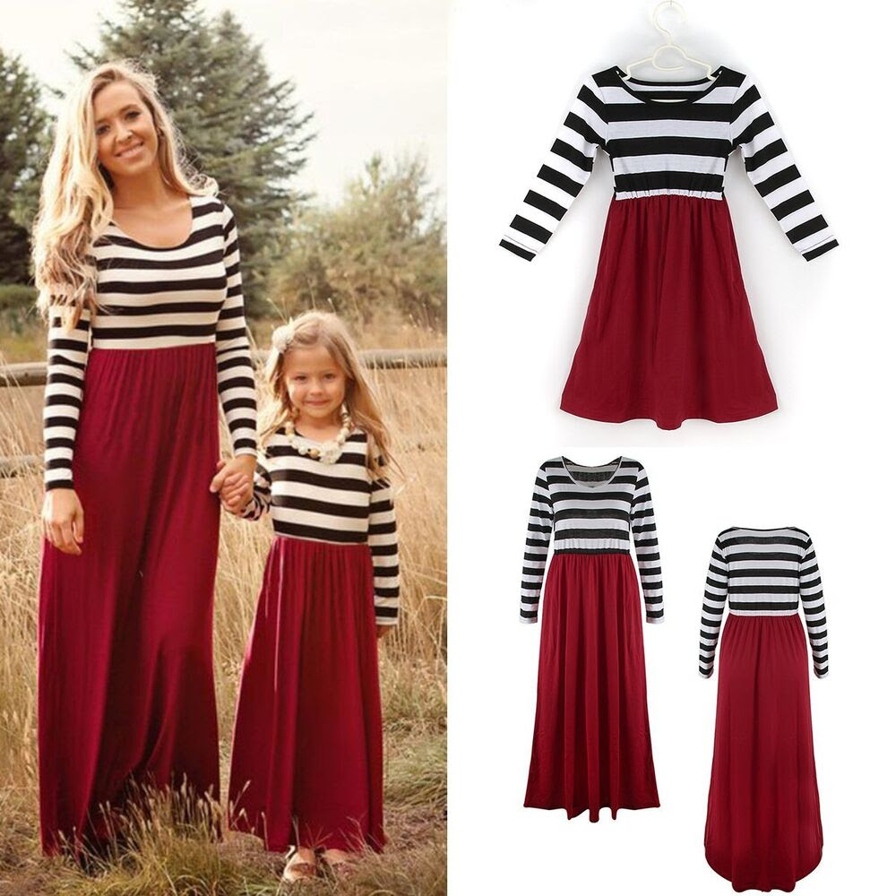 mother and daughter dresses striped matching mom girls