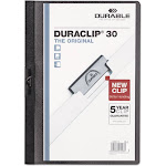 Vinyl Duraclip Report Cover W-clip, Letter, Holds 30 Pages, Clear-black