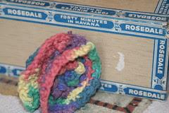 crocheted flowers scrubbie