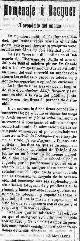 Noticia del grafito de Bécquer en Toledo por Juan Moraleda publicada en el Eco Toledano el 25 de febrero de 1915 2