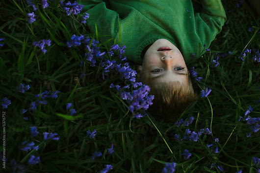 Lying in bluebells at dusk.