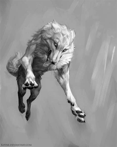 jump  kipine dog white wolf monster beast creature